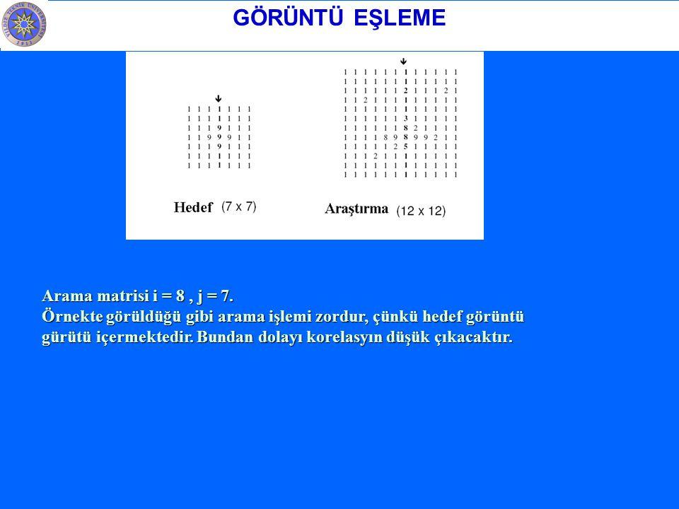 GÖRÜNTÜ EŞLEME Arama matrisi i = 8 , j = 7.