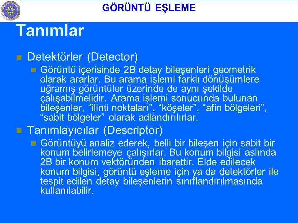 Tanımlar Detektörler (Detector) Tanımlayıcılar (Descriptor)