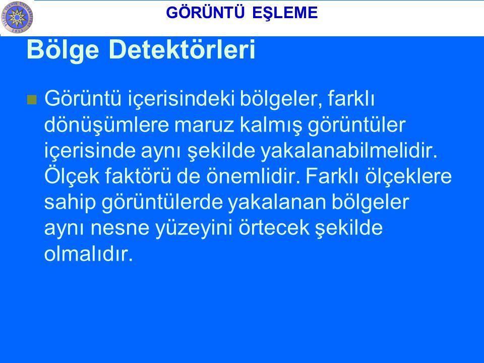 GÖRÜNTÜ EŞLEME Bölge Detektörleri.