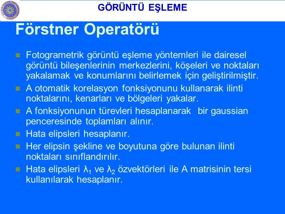 Förstner Operatörü GÖRÜNTÜ EŞLEME