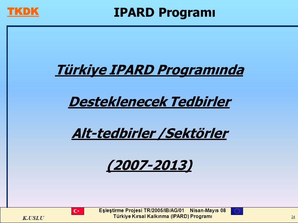 Türkiye IPARD Programında Desteklenecek Tedbirler