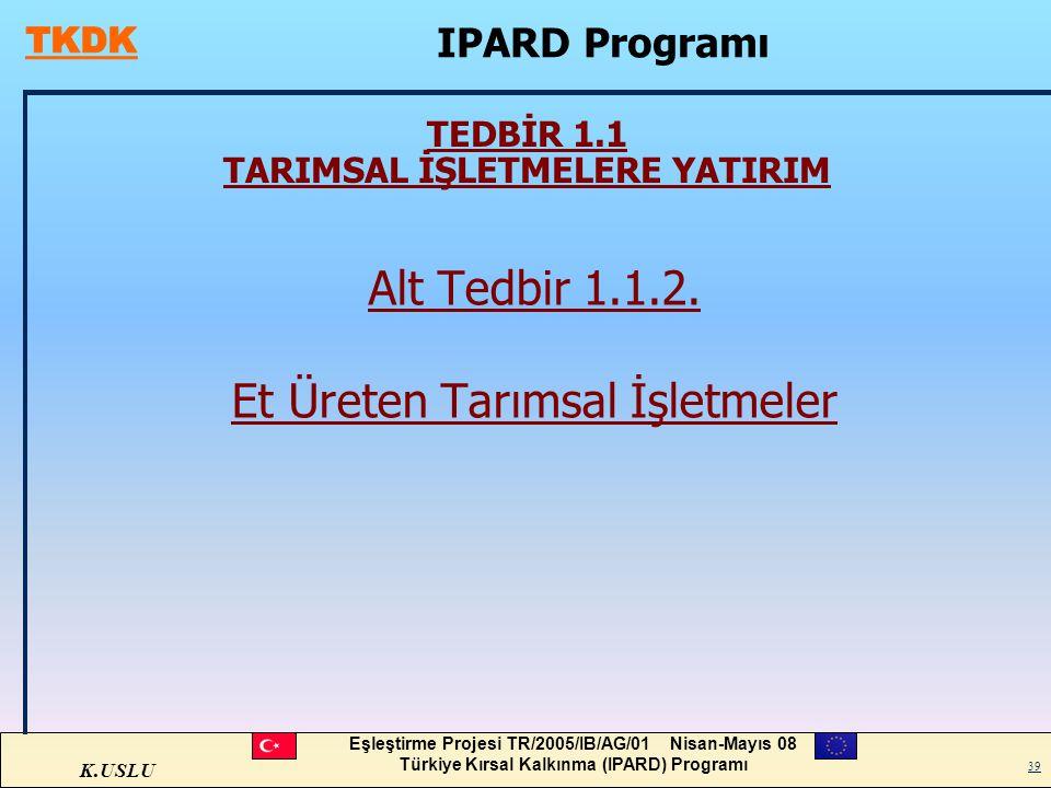 TEDBİR 1.1 TARIMSAL İŞLETMELERE YATIRIM