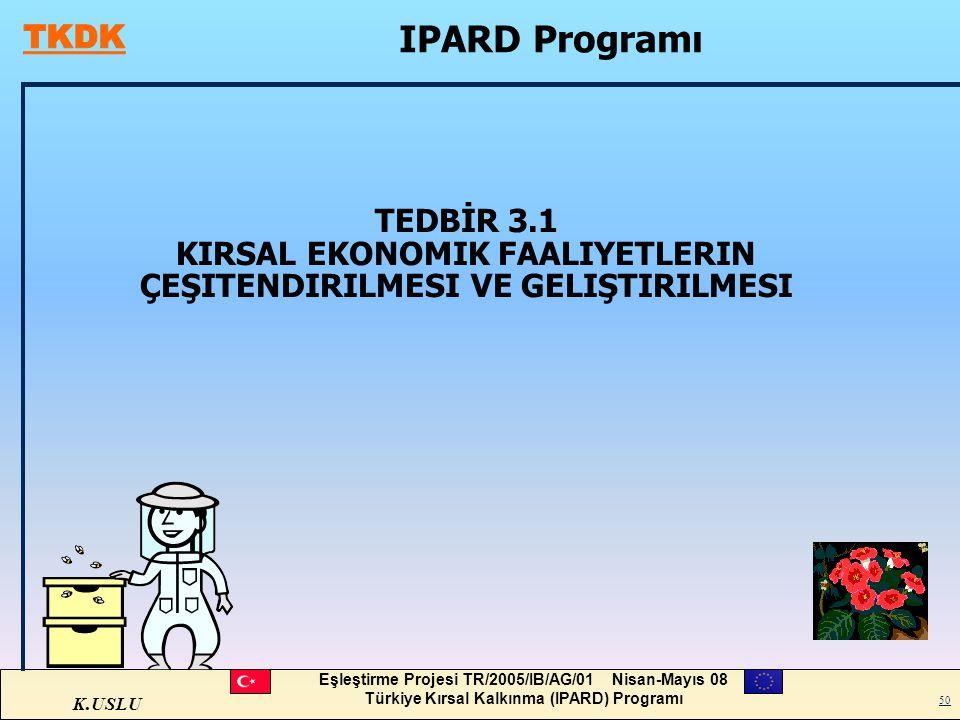 IPARD Programı TEDBİR 3.1 KIRSAL EKONOMIK FAALIYETLERIN ÇEŞITENDIRILMESI VE GELIŞTIRILMESI