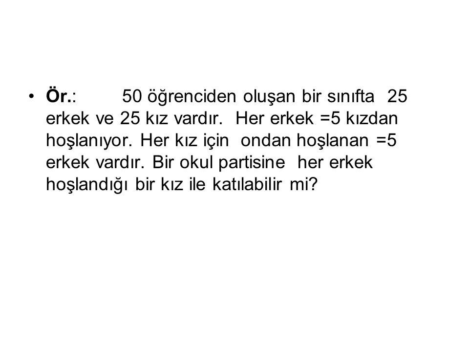 Ör. :. 50 öğrenciden oluşan bir sınıfta 25 erkek ve 25 kız vardır