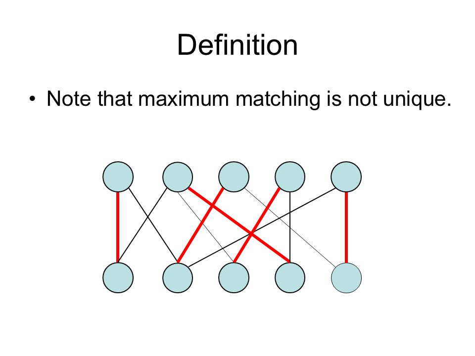 Definition Note that maximum matching is not unique.