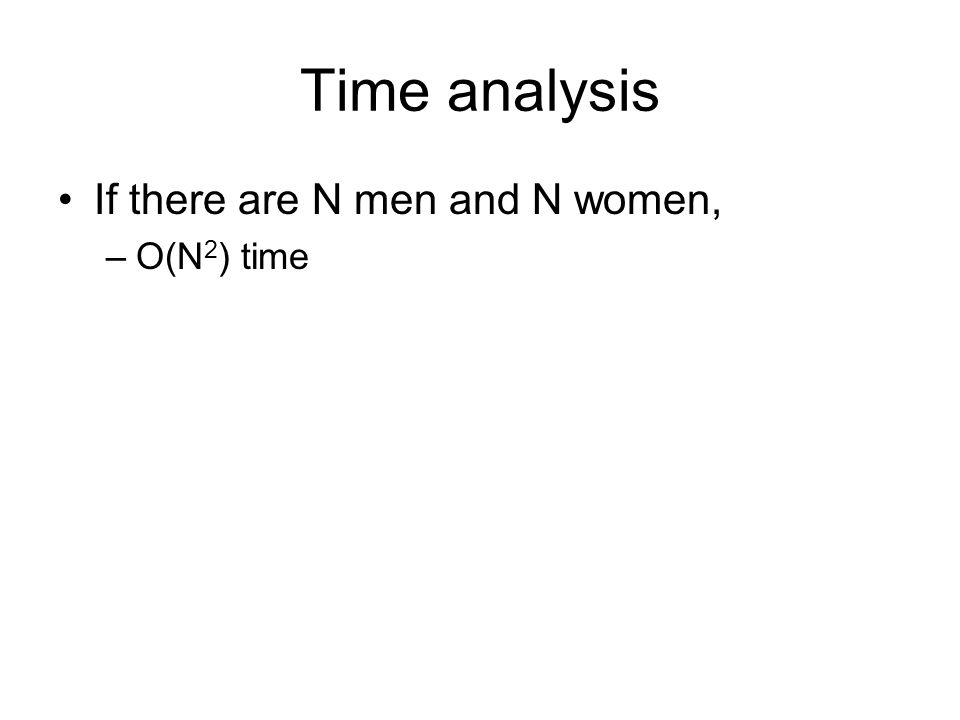 Time analysis If there are N men and N women, O(N2) time