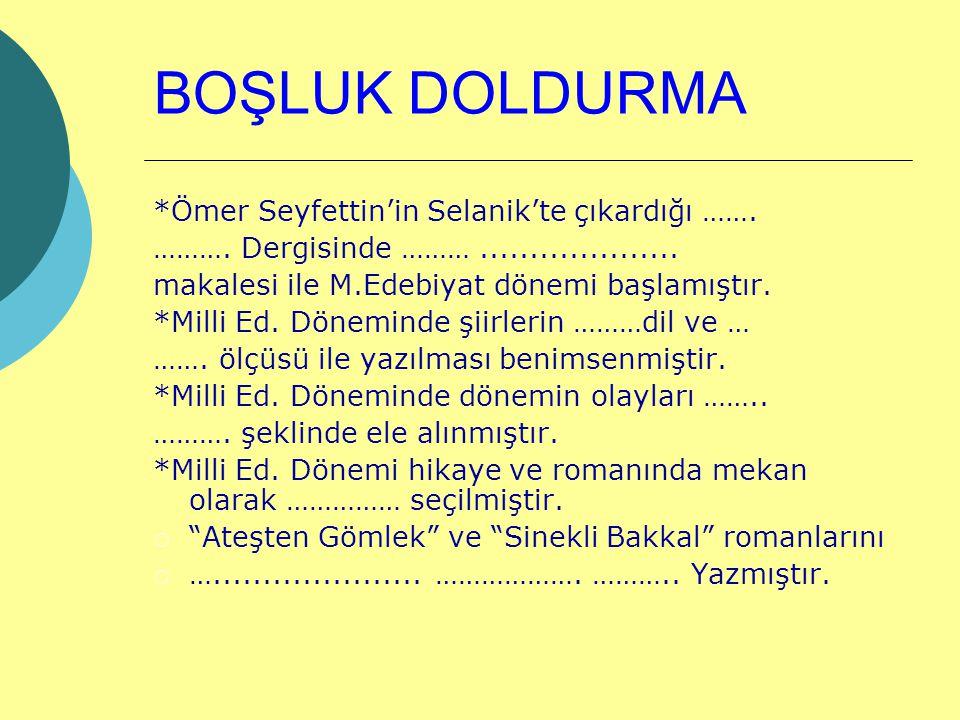 BOŞLUK DOLDURMA *Ömer Seyfettin'in Selanik'te çıkardığı …….