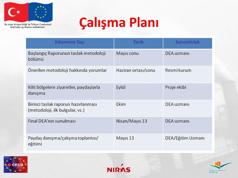 Çalışma Planı Bu proje Avrupa Birliği ile Türkiye Cumhuriyeti