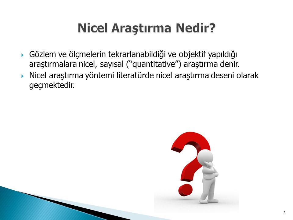 Nicel Araştırma Nedir Gözlem ve ölçmelerin tekrarlanabildiği ve objektif yapıldığı araştırmalara nicel, sayısal ( quantitative ) araştırma denir.