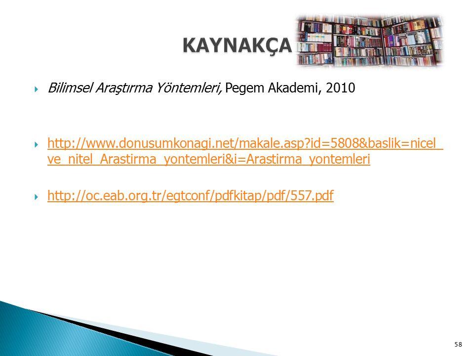 KAYNAKÇA Bilimsel Araştırma Yöntemleri, Pegem Akademi, 2010