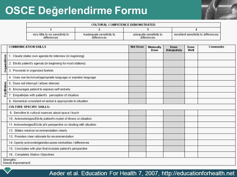 OSCE Değerlendirme Formu