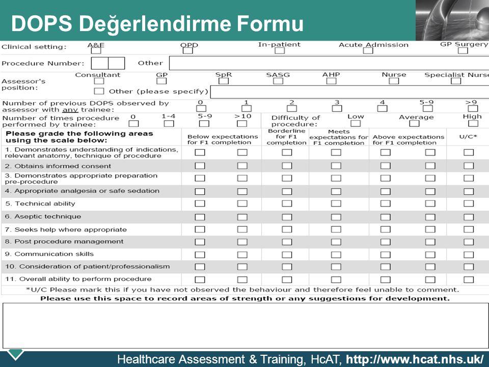 DOPS Değerlendirme Formu