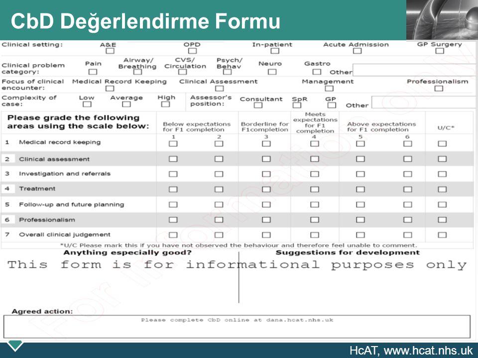 CbD Değerlendirme Formu