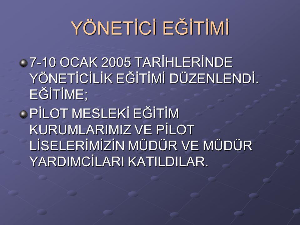 YÖNETİCİ EĞİTİMİ 7-10 OCAK 2005 TARİHLERİNDE YÖNETİCİLİK EĞİTİMİ DÜZENLENDİ. EĞİTİME;