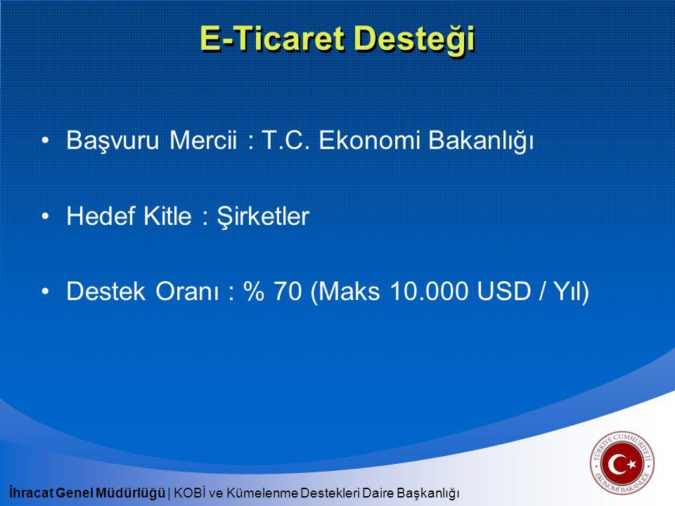 E-Ticaret Desteği Başvuru Mercii : T.C. Ekonomi Bakanlığı
