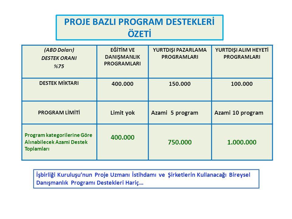 PROJE BAZLI PROGRAM DESTEKLERİ ÖZETİ