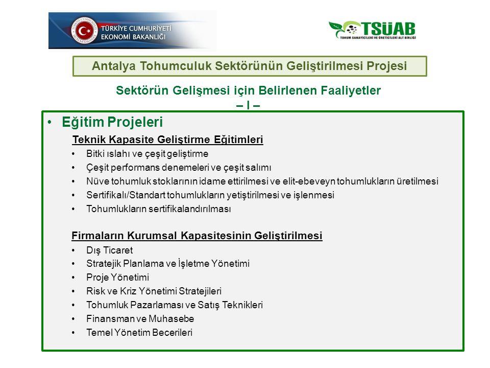 Eğitim Projeleri Antalya Tohumculuk Sektörünün Geliştirilmesi Projesi