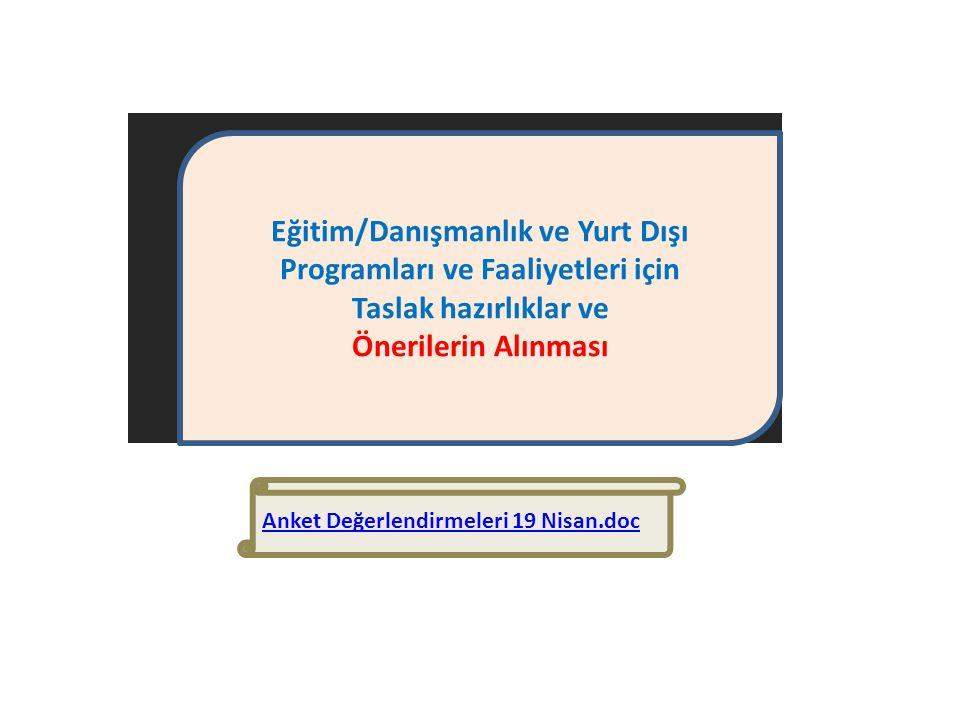 Eğitim/Danışmanlık ve Yurt Dışı Programları ve Faaliyetleri için