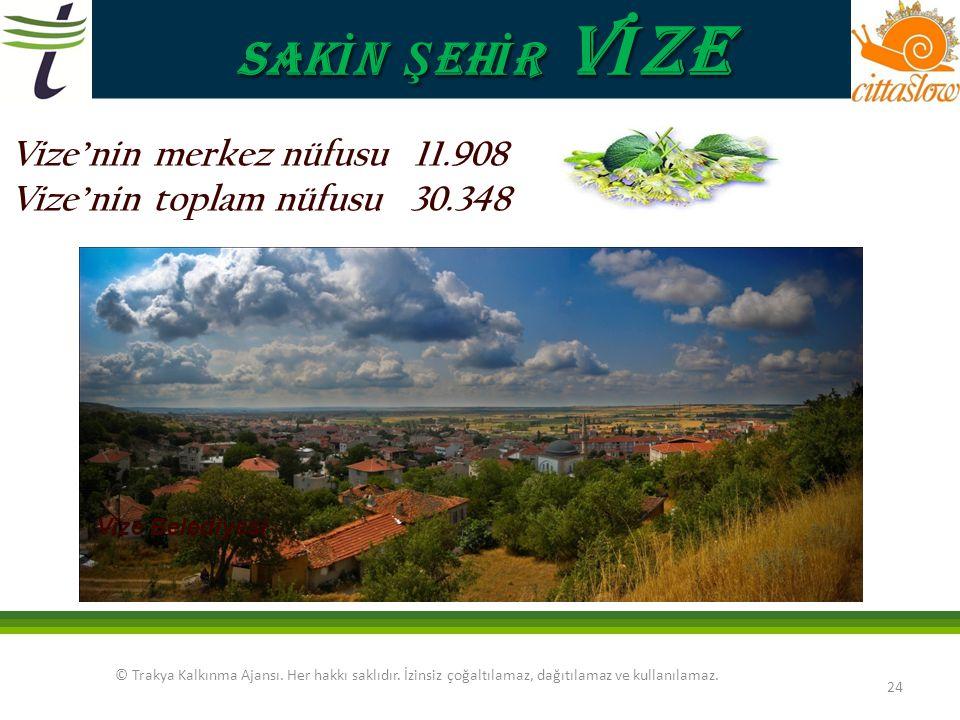 SAKİN ŞEHİR VİZE Vize'nin merkez nüfusu 11.908