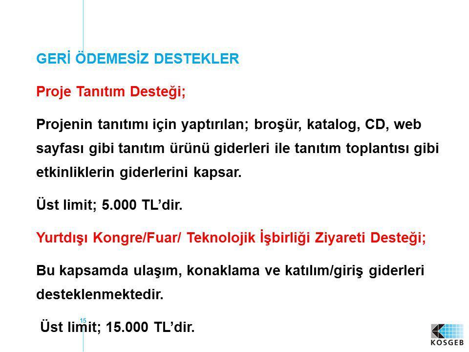GERİ ÖDEMESİZ DESTEKLER Proje Tanıtım Desteği;
