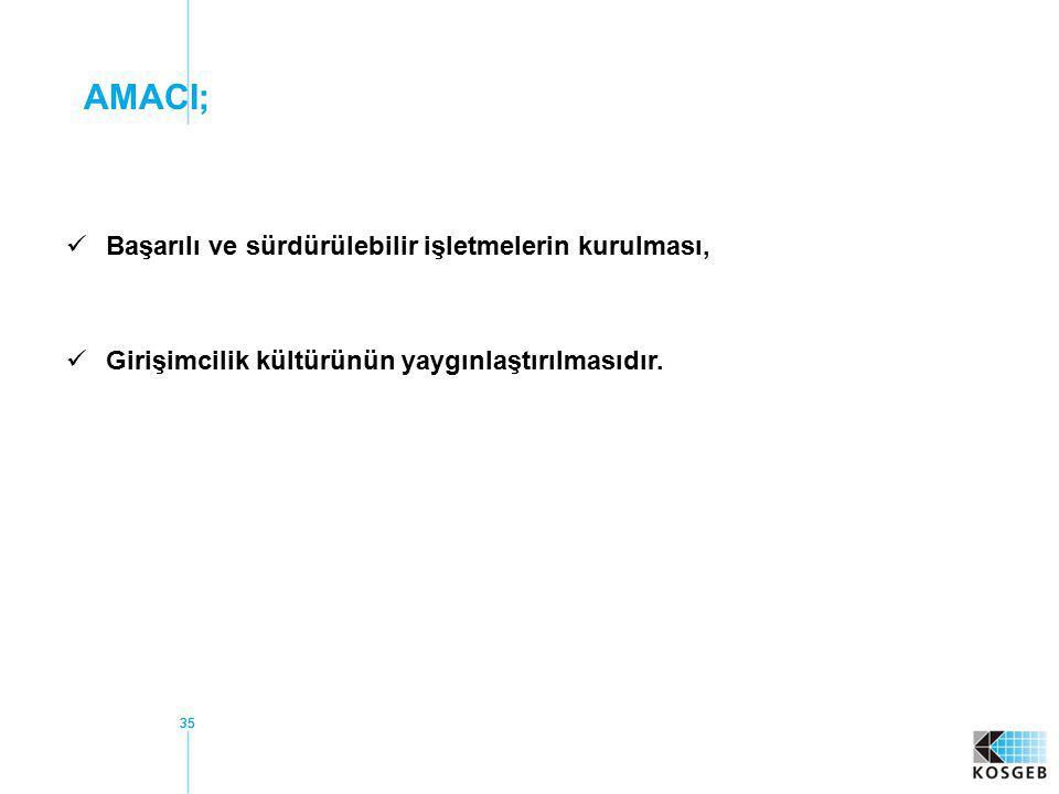 AMACI; Başarılı ve sürdürülebilir işletmelerin kurulması,