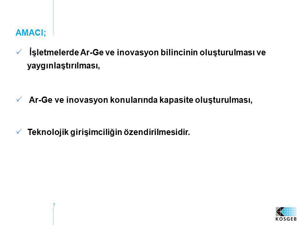 Ar-Ge ve inovasyon konularında kapasite oluşturulması,