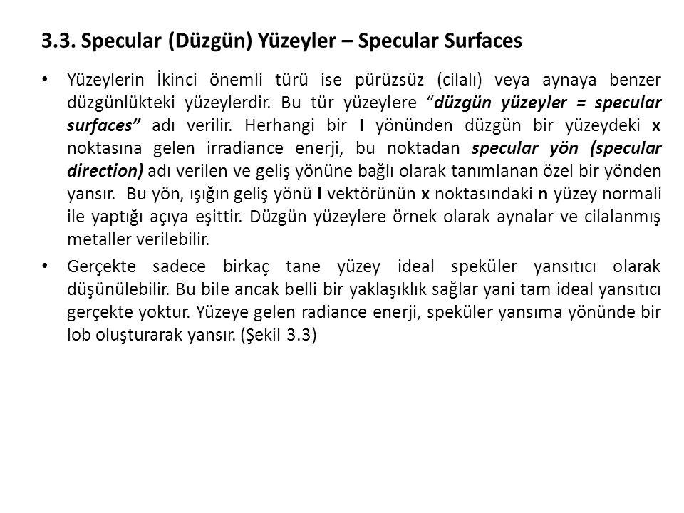 3.3. Specular (Düzgün) Yüzeyler – Specular Surfaces