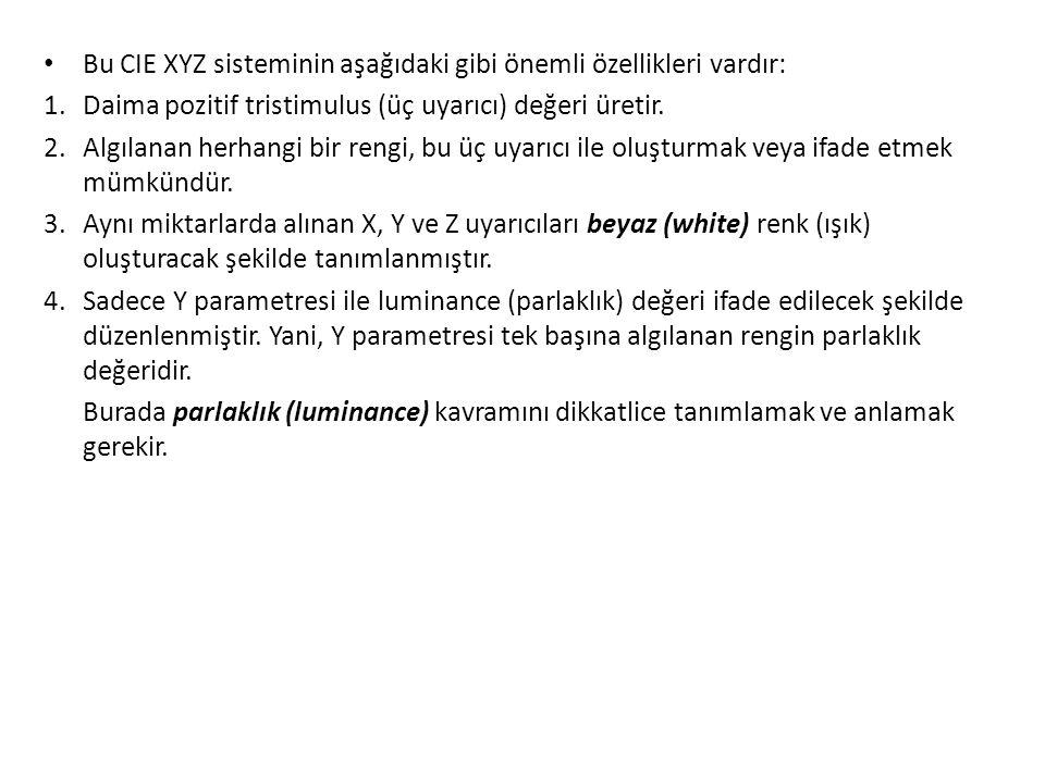 Bu CIE XYZ sisteminin aşağıdaki gibi önemli özellikleri vardır:
