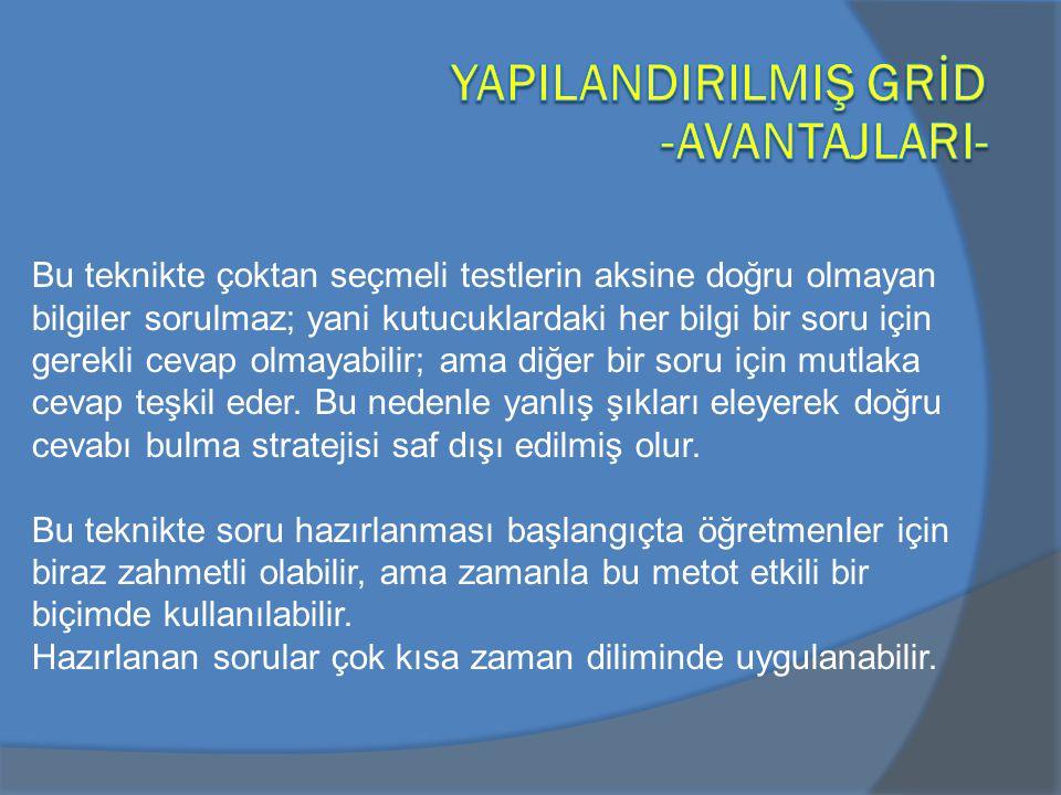 YAPILANDIRILMIŞ GRİD -AVANTAJLARI-