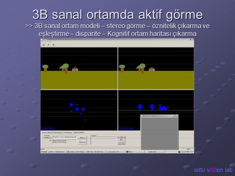 3B sanal ortamda aktif görme >> 3B sanal ortam modeli – stereo görme – öznitelik çıkarma ve eşleştirme – disparite – Kognitif ortam haritası çıkarma