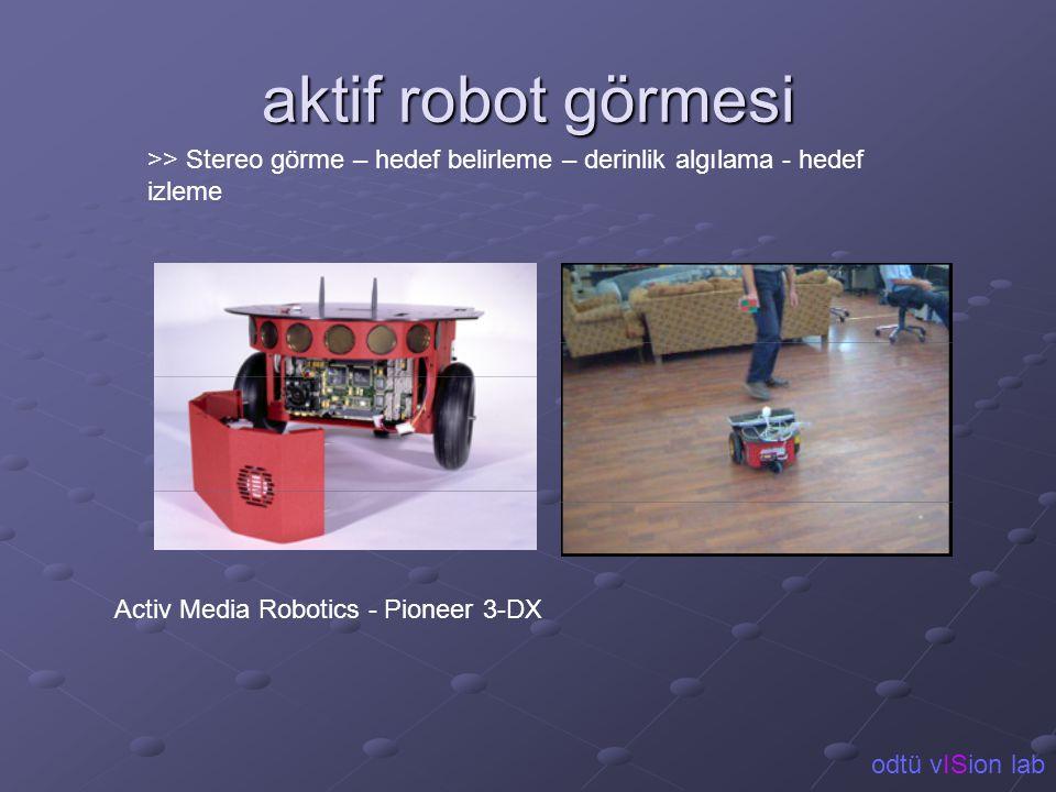 aktif robot görmesi >> Stereo görme – hedef belirleme – derinlik algılama - hedef izleme. Activ Media Robotics - Pioneer 3-DX.