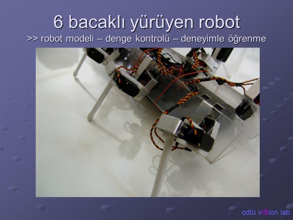 6 bacaklı yürüyen robot >> robot modeli – denge kontrolü – deneyimle öğrenme