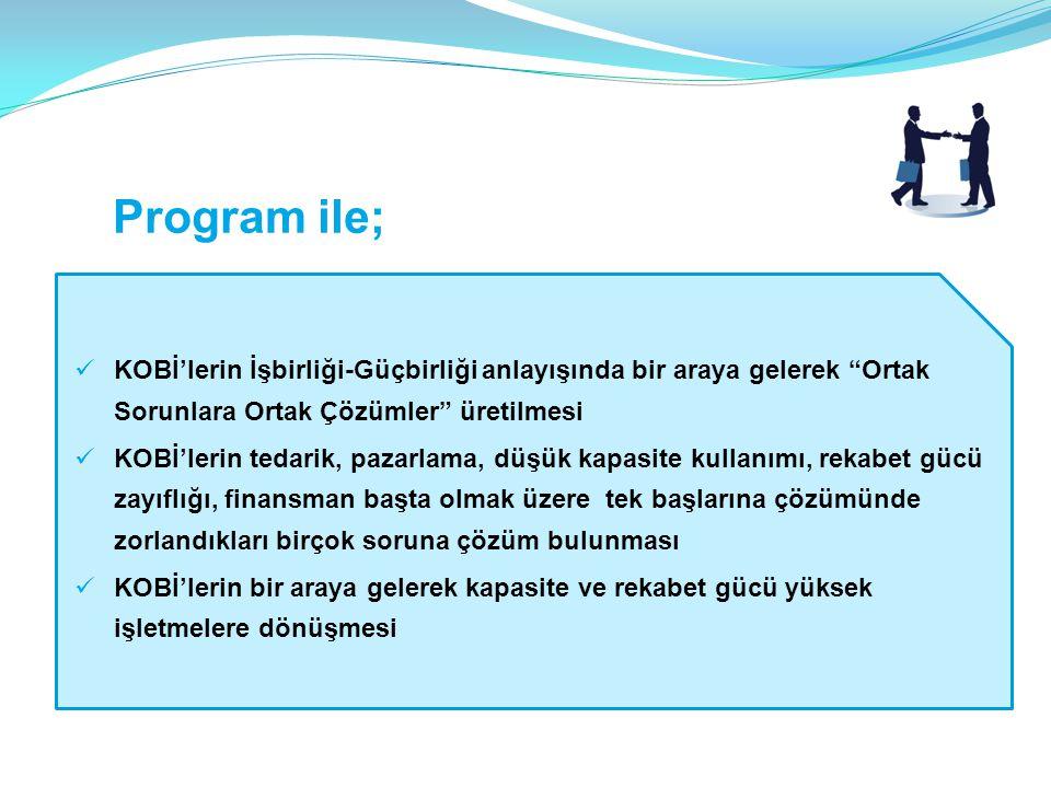 Program ile; KOBİ'lerin İşbirliği-Güçbirliği anlayışında bir araya gelerek Ortak Sorunlara Ortak Çözümler üretilmesi.