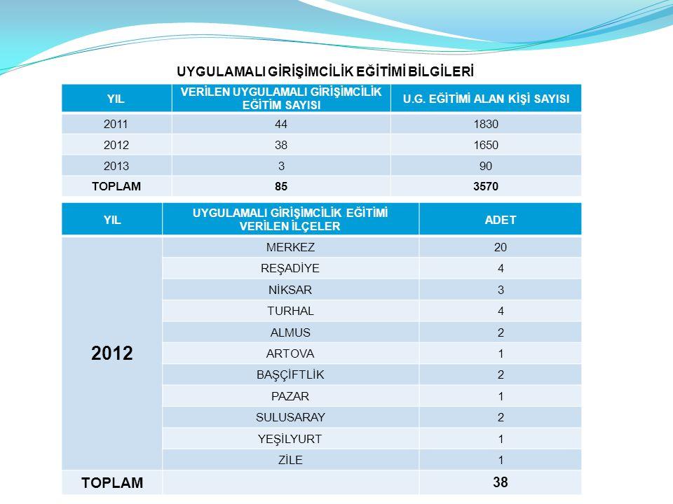 2012 TOPLAM 38 UYGULAMALI GİRİŞİMCİLİK EĞİTİMİ BİLGİLERİ 2011 44 1830