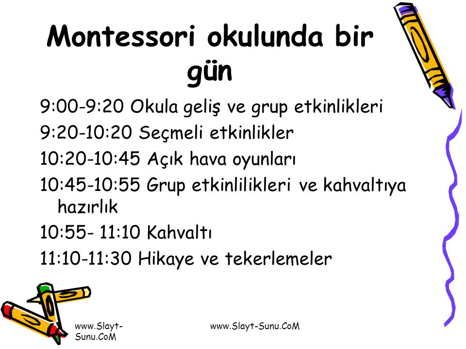 Montessori okulunda bir gün