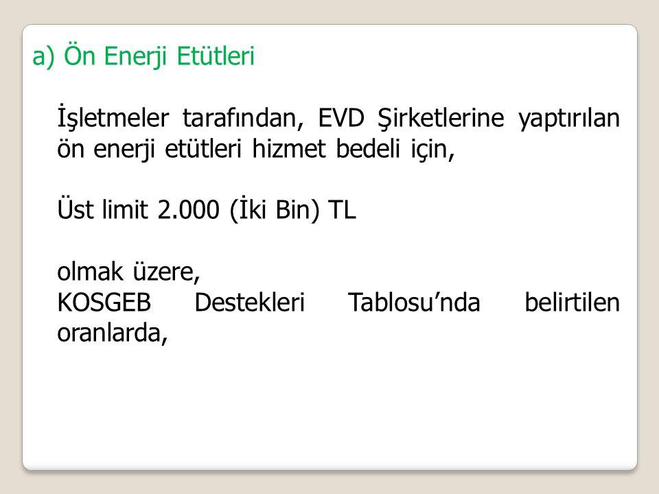 a) Ön Enerji Etütleri İşletmeler tarafından, EVD Şirketlerine yaptırılan ön enerji etütleri hizmet bedeli için,