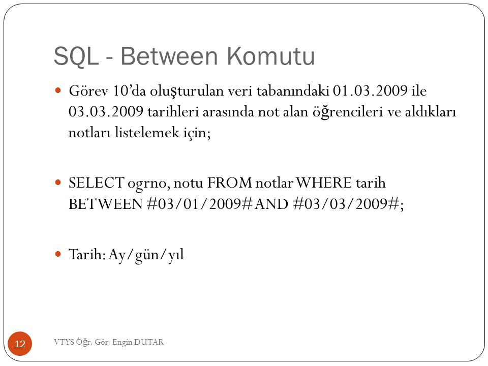 SQL - Between Komutu