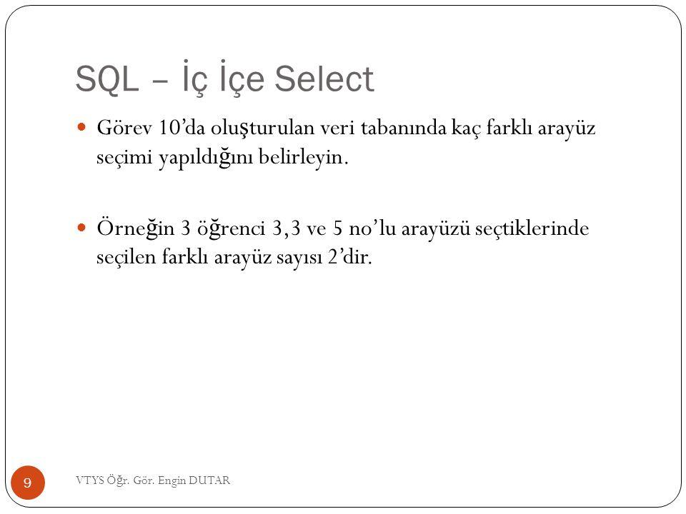 SQL – İç İçe Select Görev 10'da oluşturulan veri tabanında kaç farklı arayüz seçimi yapıldığını belirleyin.