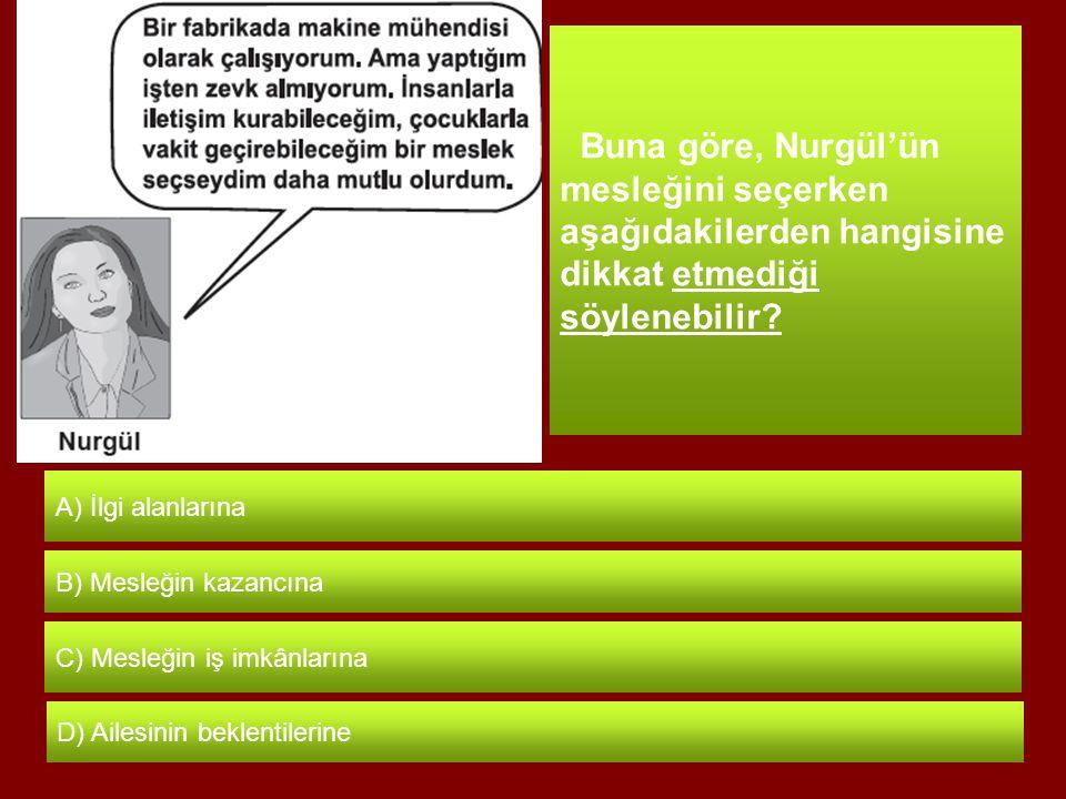 Buna göre, Nurgül'ün mesleğini seçerken aşağıdakilerden hangisine dikkat etmediği söylenebilir