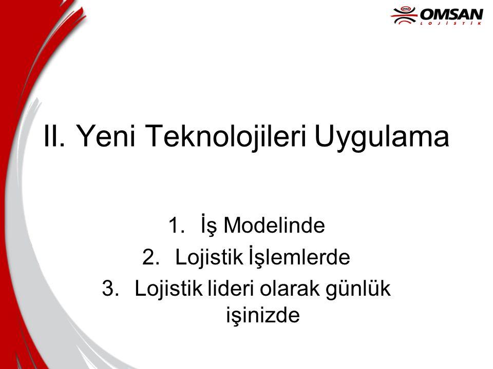 II. Yeni Teknolojileri Uygulama