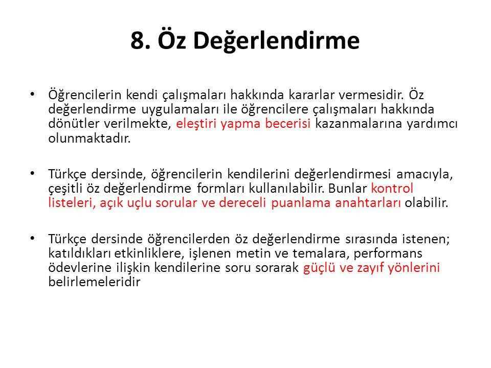 8. Öz Değerlendirme