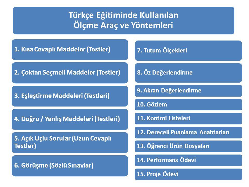 Türkçe Eğitiminde Kullanılan Ölçme Araç ve Yöntemleri