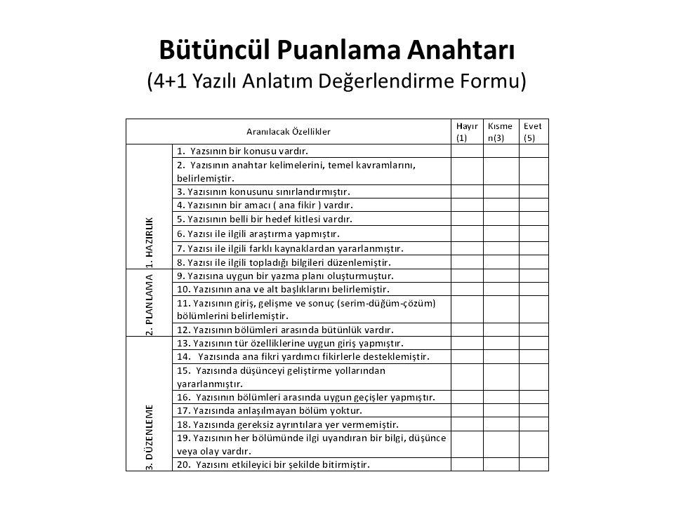 Bütüncül Puanlama Anahtarı (4+1 Yazılı Anlatım Değerlendirme Formu)