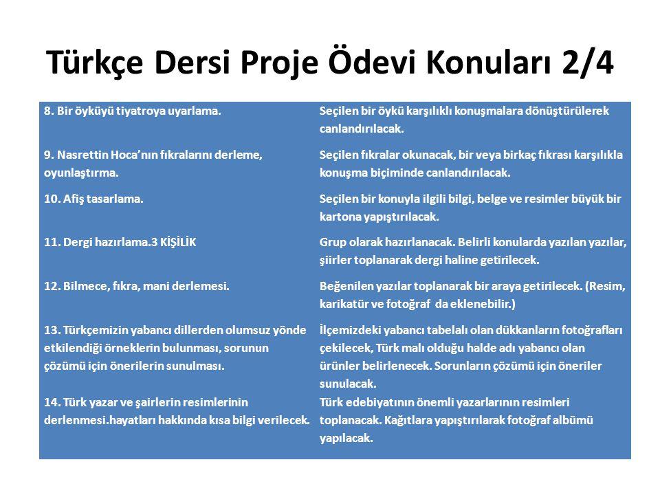 Türkçe Dersi Proje Ödevi Konuları 2/4