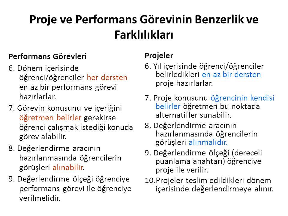 Proje ve Performans Görevinin Benzerlik ve Farklılıkları