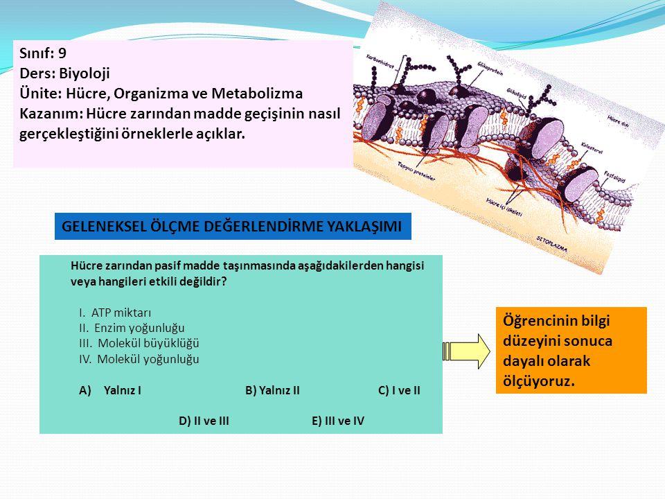 Ünite: Hücre, Organizma ve Metabolizma