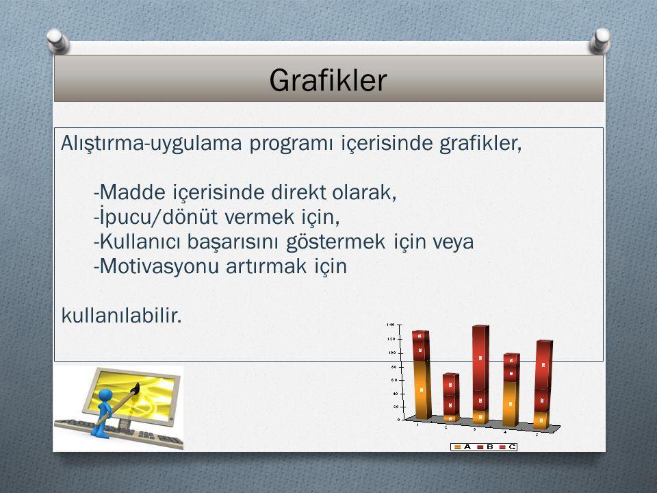 Grafikler Alıştırma-uygulama programı içerisinde grafikler,