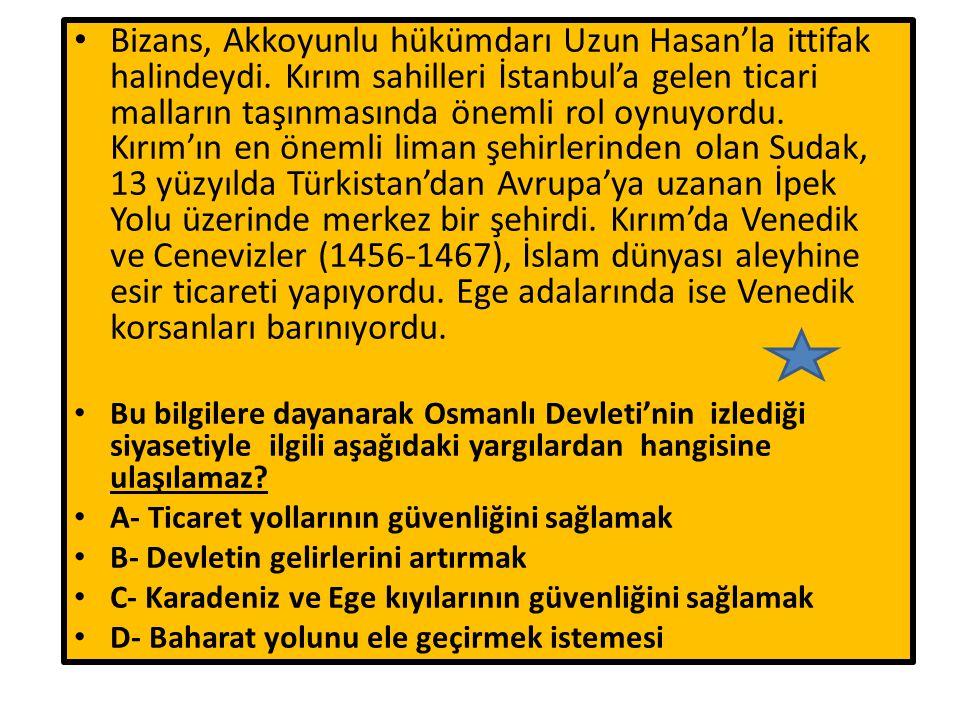 Bizans, Akkoyunlu hükümdarı Uzun Hasan'la ittifak halindeydi