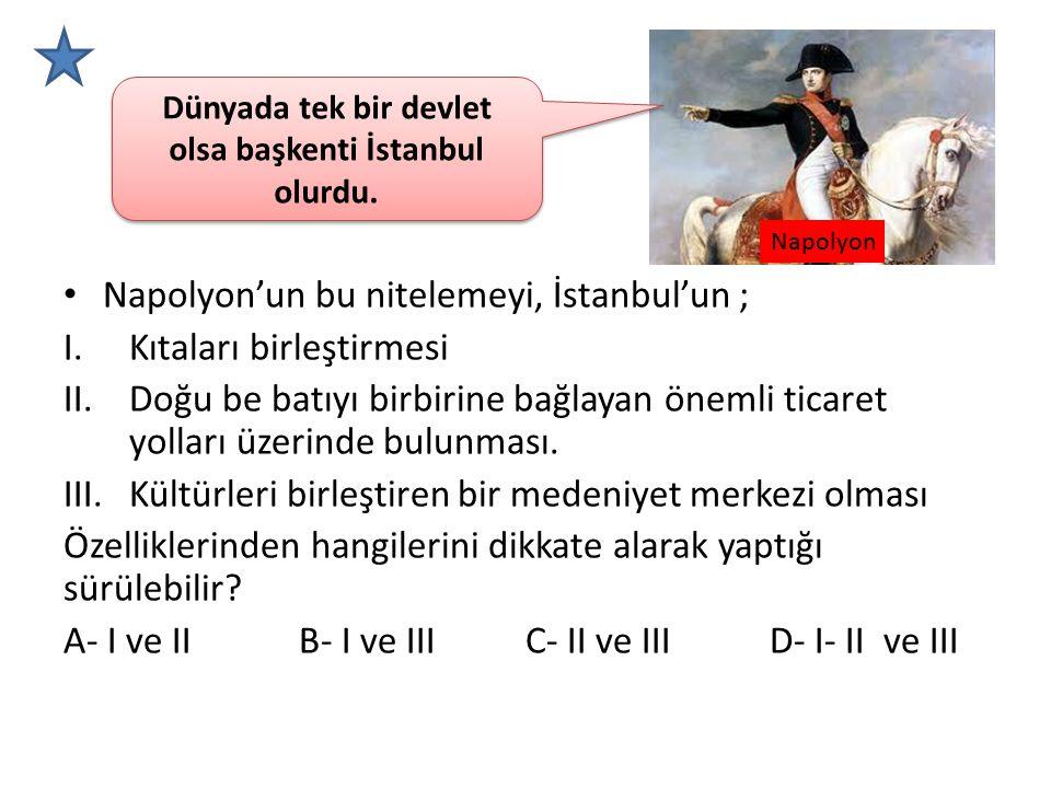 Dünyada tek bir devlet olsa başkenti İstanbul olurdu.