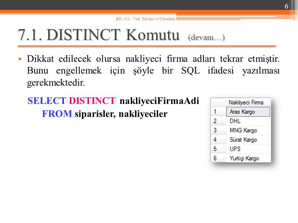 7.1. DISTINCT Komutu (devam…)